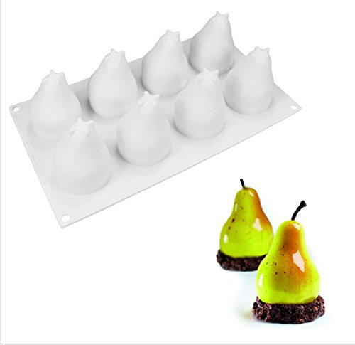 OMAS 8 Holes Pear Baking Silicone Mousse Mold- Not Sticky Cake Decoration Mould For Mousse,Chocolate Brownie,Jelly,Ice Cream,Chiffon,Cheesecake,Fondant