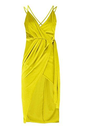 Chartreuse Damen Lily Velvet Wrap Detail Bodycon Dress