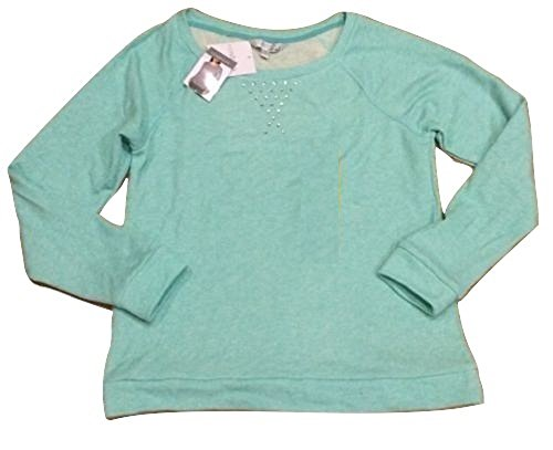 Ellen Tracy Company Ladies Embellished Soft Roll Sleeve Sweatshirt Mint (Large)