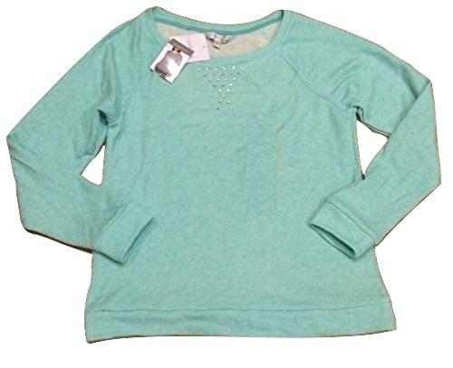 Ellen Tracy Company Ladies Embellished Soft Roll Sleeve Sweatshirt Mint (Large)