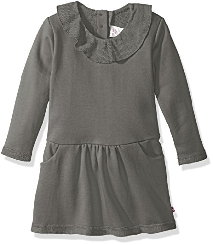 Zutano Toddler Girls' French Terry Ruffle Drop Waist Dress, Gray, 3T