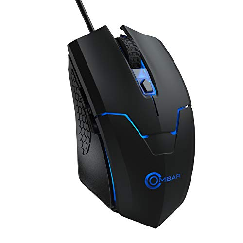 Gaming Mouse Wired, OMBAR 6 Buttons 4 DPI Adjustable Auto Breathing Backlight Optical Comfortable Grip Ergonomic PC Gaming Mice for Windows 7 / 8 / 10 / XP Vista Mac Macbook Linux, Black.