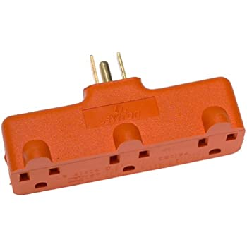 Leviton 699-OR Heavy Duty Triple Outlet Adapter, 15-Amp, 125-Volt, Orange