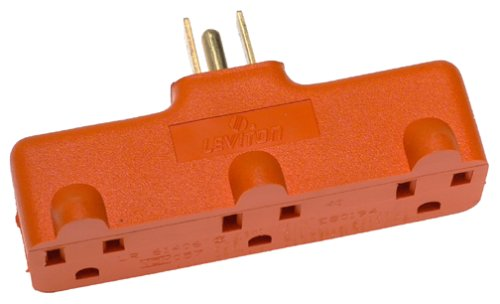 Leviton 699-OR Heavy Duty Triple Outlet Adapter, 15-Amp, 125-Volt, Orange - Heavy Duty Triple Outlet