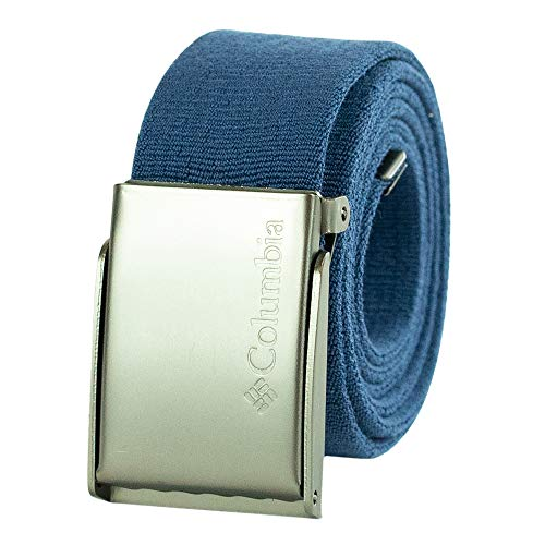 Columbia Men's Military Web Belt - Casual for Jeans Pants Adjustable One sizee Cotton Metal Plaque Buckle,navy, 1size