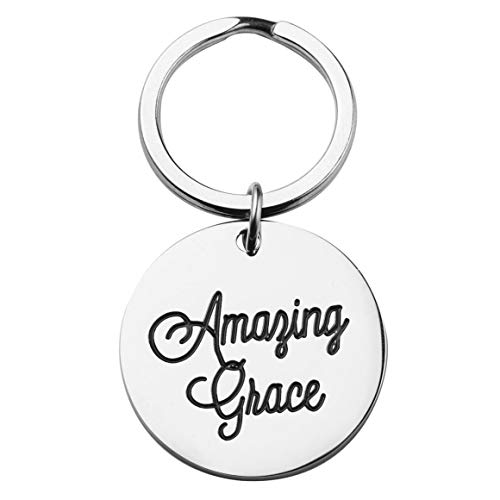 Amazing Grace Keychain Stainless Steel Pendant Keychain Inspirational Gifts for him her -