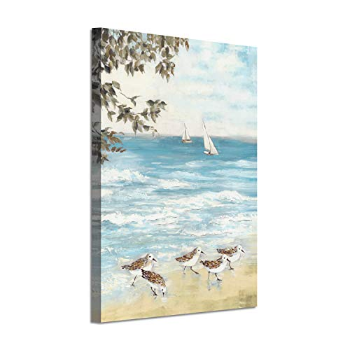 Ocean Abstract Artwork Coastal Picture: Sea Birds Gold Foil Art Print on Canvas(24