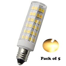 E11 LED Mini Bulbs T4 JD 120V LED 5W 500Lumens Replacement Halogen Bulb, , 50W Equivalent, Warm White 3000K, Dimmable ( Pack of 5 )