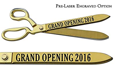 "Pre-Laser Engraved ""GRAND OPENING 2016"" 15"" Gold Plated Ceremonial Ribbon Cutting Scissors"