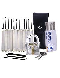 ThreeCat Set de ganzúas con 20 Piezas - Incluye candado Transparente y Tarjeta de crédito con Herramientas de Guía para Principiantes y cerrajeros
