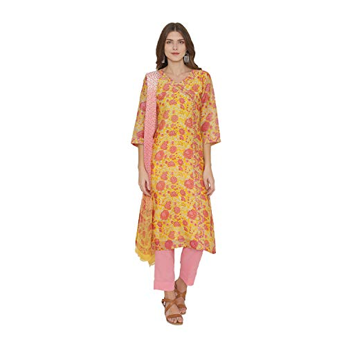PinkShink Women's Readymade Yellow and Pink Pure Chanderi Silk Indian/Pakistani Salwar Kameez Dupatta