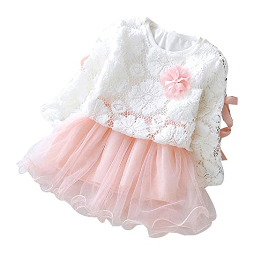 Wesracia Infant Baby Girls Floral Lace Tutu Long Sleeve Princess Dress Clothes Outfits (12M, Pink)