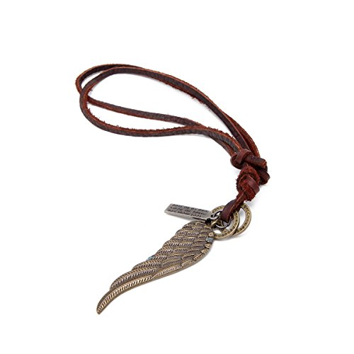 Leather Angel Wings (Mens Vintage Angel Wing Cross Pendant Brown Leather Cord Necklace Chain, gold (Angel Wing))