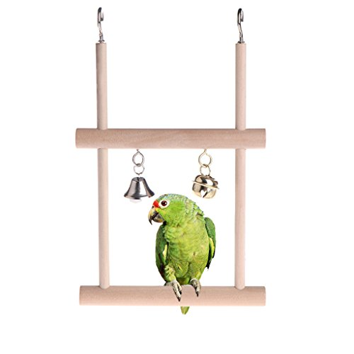 Wooden Bird Swing (STARSHINE Funny Wooden Bird Swings, Budgie Toys Hanging Ladder for Parakeets (ladder))