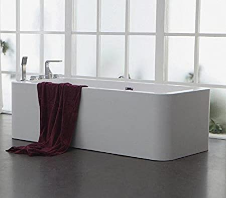 Soporte de diseño bañera de mineral de hierro fundido bañera de piedra artificial BLANCO L/B/H 180 x 80 x 55