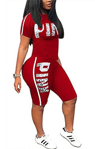 Sweatshirt Jumper (Molisry Women Letter Print Short Sleeve Crop Tops Sweatshirt Short Pants Jumpsuits 2 Piece Outfits)