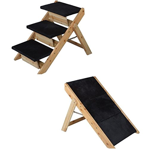 1 Set Excited Modern 2in1 Pet Stairs Ramp Folding Portable Carpeted Animal  Steps Ladder Color Black And Wood