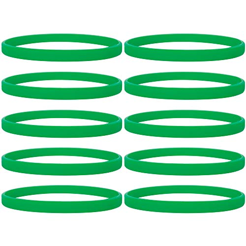 (GOGO Silicone Wristbands Sport Rubber Bracelets Thin Bands Party Favor Gifts-Green-1PACK)