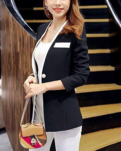 Fit Tailleur Button Lunghe Parigine Blazer Ufficio Autunno Eleganza Business Outerwear Stile Da Donna Casual Giacca Moda Maniche Coat Slim Elegante Schwarz Primaverile OqZxv8O