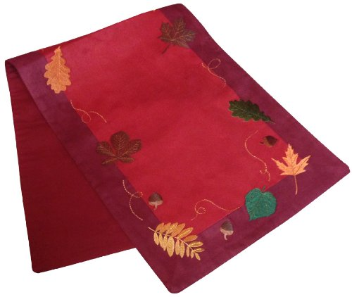 Harvest Autumn Flurry of Leaves Embroidered Lined Reversible Tablerunner 13x36 Multi
