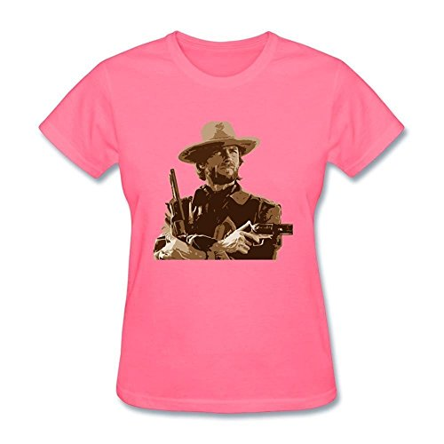 Tommery Women's Clint Eastwood Design Short Cotton T Shirt (Letters From Guantanamo)