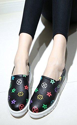 Multicolore Fashion Femme Sneakers Loafers Aisun Imprimé Noir Basse twPABtxfq