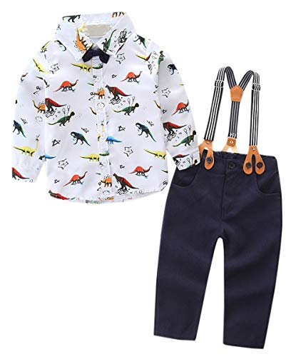 Baby Boys' Tuxedo Outfit, Long Sleeves Dinosaurs Dress Shirt with Bow Tie + Suspender Pants 2 Pieces Clothes Set Infant Newborn Toddlers, Tuxedo Outfit, 6-9 Month = Tag 80 ()
