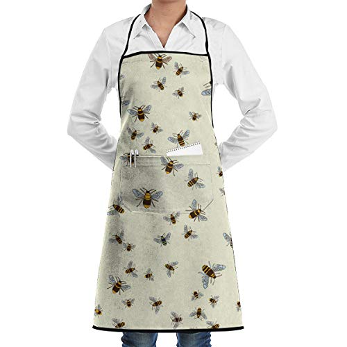 NiYoung Cooking Aprons for Lady Women, Durable Kitchen and Housework Bee Honeybee Aprons with Pocket, Fashion Funny Waterproof and Oilproof Apron for BBQ, Baking, Cake ()