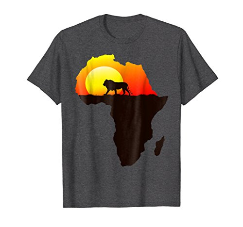 Mens Majestic Lion Strolling Into The Sun Africa Silhouette Shirt Large Dark Heather by African Lion Print Designs