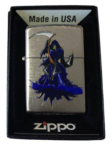 Zippo Custom Lighter - Skull Grim Reaper of Death w/ Sythe Chrome -