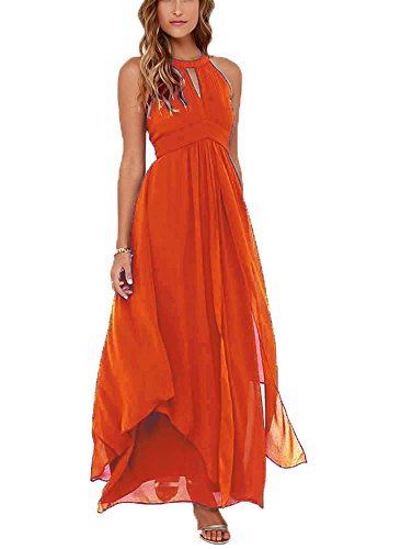 Wedding Long Women's Hater Cheap DreHouse Gowns Dresses Orange Party Bridesmaid Chiffon Simple dH8qEECaw