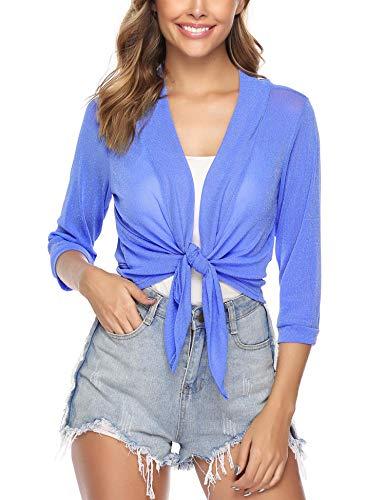 iClosam Womens Tie Front 3/4 Sleeve Sheer Shrug Cropped Bolero Cardigan (#1Lake Blue(Sequin), XX-Large)