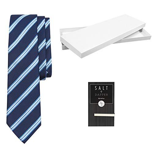 Salt & Dapper Men's Woven Silk Luxury Tie With Tie Bar & Giftbox - Navy Stripe