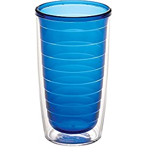 Tervis 1037256 Clear & Colorful Insulated Tumbler 16oz, Sapphire
