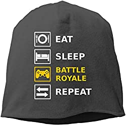 Jusxout Eat Sleep Battle Royale Repeat Women Skull Hat Beanie Hats Black