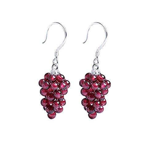 OK-STORE 925 Sterling Silver Jewelry Natural Garnet Grape Fashion Earrings Ear Stud