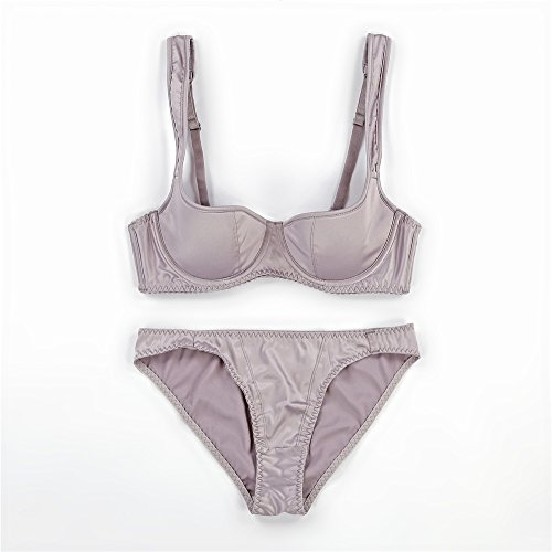 Women's Comfort Sexy Underwire Push up Embroidered Lace Bra and Panty Set(Grey 32A) ()