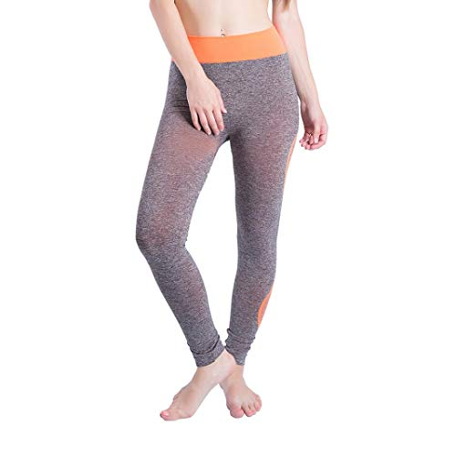 CICIYONER Mujeres Gym Yoga Patchwork Deportes Running Fitness Leggings Pantalones Pantalón Atlético Naranja