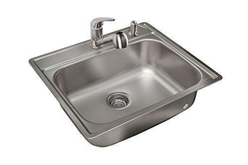 Kindred KSS802SNKIT 20-Gauge Stainless Steel Single Bowl Topmount 8u0022 Deep Kitchen Sink Kit