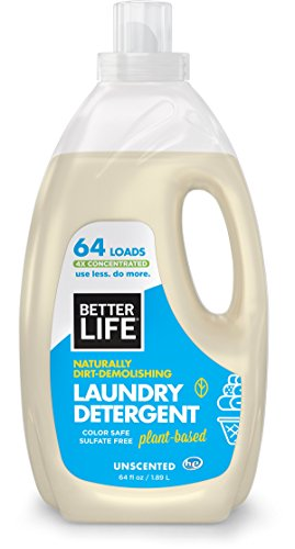 Better Life Natural Plant Based 4X Concentrated Laundry Detergent With Pump Unscented 64 Ounces Sulfate Free & Color Safe 24231