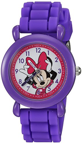Disney Girl's 'Minnie Mouse' Quartz Plastic and Silicone Casual Watch, Color:Purple (Model: WDS000008)