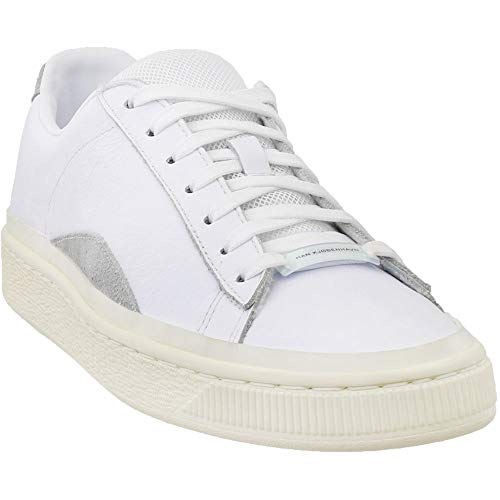 Puma Mens Basket - PUMA Select Men's x Han Kjobenhavn Basket Sneakers, Puma White/Whisper White, 9.5 M US