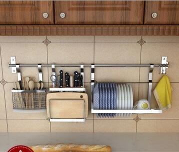3 Piece Kitchen Cookware Organizer Set,Knife Block Chopping Board Holder/Flatware Utensils Caddy/Dish Drying Rack,10 S Hooks 1 Bar,Wall Mounted Pot Rack by Dynabit