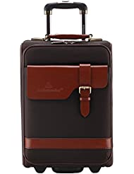 Ambassador Luggage Vintage Top Grain Leather 20 Inch Carry On Luggage Mobile Business Trolley Suitcase