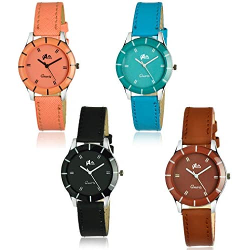 41D6Il1%2B90L. SS500  - Acnos Analogue Multicolour Dial Women's Watch - Pack of 4