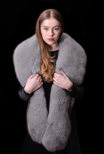 Premium Saga Furs Smoke Grey Blue Fox Fur Handmade Stole Boa Shawl Scarf by Your Furrier