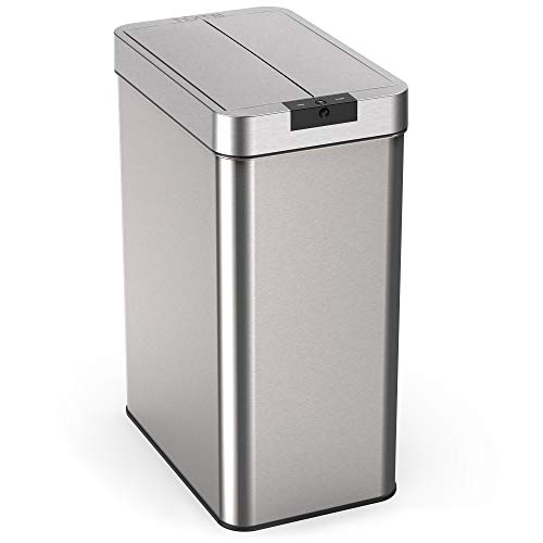 hOmeLabs 13 Gallon Touchless Trash Can - Stainless Steel Automatic Garbage Can with Lid - Modern Hands Free Waste Bin with Infrared Sensor Technology for Kitchen Bathroom or Office Use