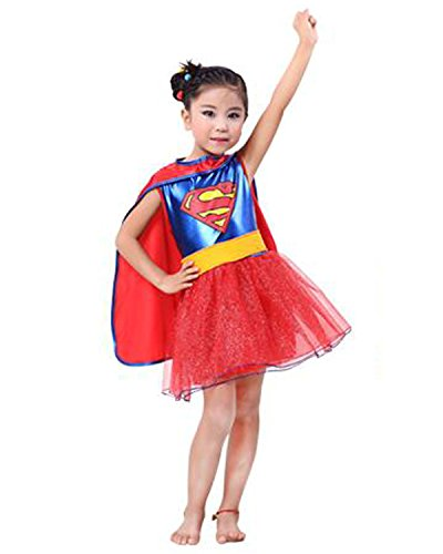 Aifang Halloween Superheroes Costume Kids Supergirl TV Show Costume Cosplay for Girls Kids Children L