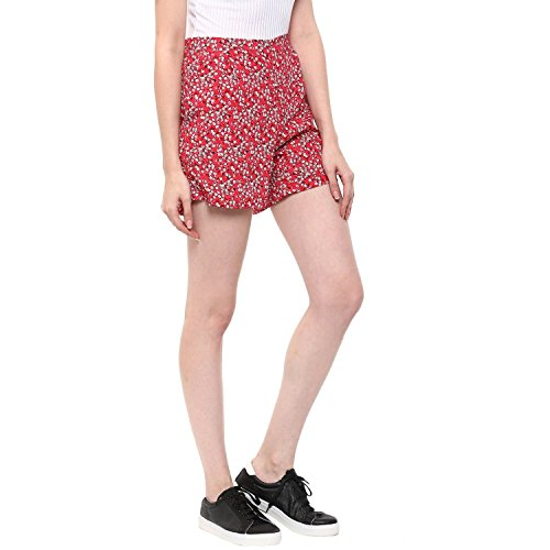 Moderno casual Floral print short Regular Fit Shorts Pockets both side Pink Color Crepe For Women and Girls