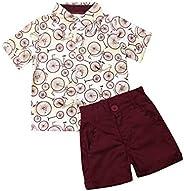 Toddler Boys Summer Short Pajamas Sets Dinosaur Print T-Shirt and Shorts 2 Pcs Sets Cotton Sleepwears